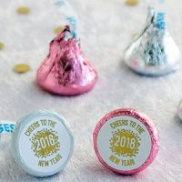 New Years Eve Party Supply and Favour Guide - Personalized Holiday Party Hershey's Kisses